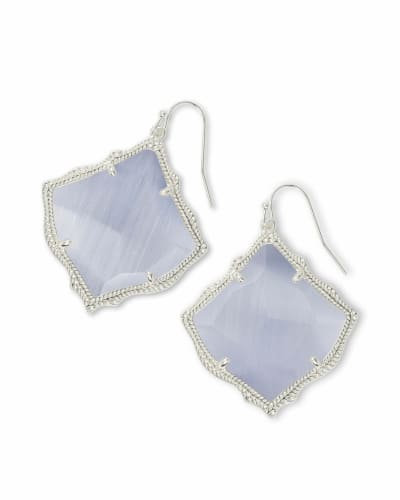 Kirsten Silver Drop Earrings in Slate Cats Eye