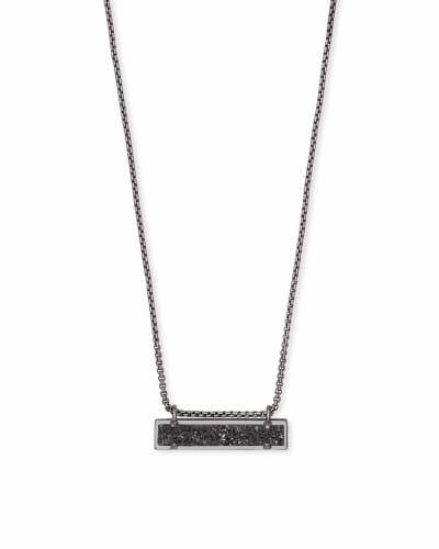 Leanor Gunmetal Pendant Necklace in Black Drusy