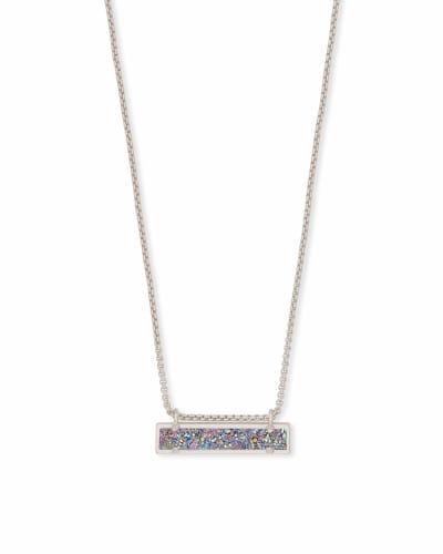 Leanor Silver Pendant Necklace in Multicolor Drusy