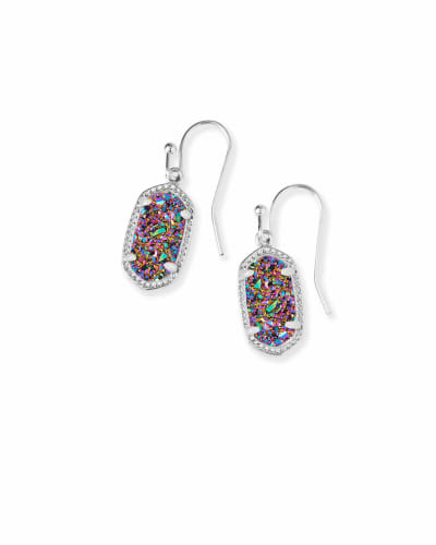 Lee Silver Drop Earrings in Multicolor Drusy