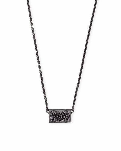 Pattie Gunmetal Pendant Necklace In Black Drusy