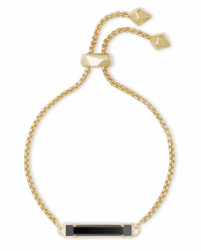 Stan Gold Adjustable Chain Bracelet in Black Opaque Glass