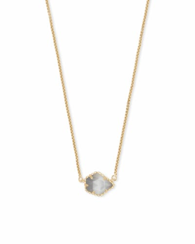 Tess Gold Small Pendant Necklace In Slate Cats Eye