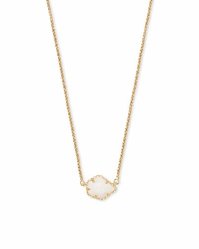 Tess Gold Small Pendant Necklace In White Pearl