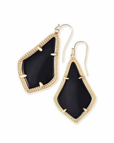 Alex Gold Drop Earrings in Black Opaque Glass