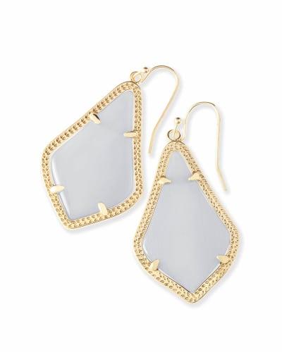 Alex Gold Drop Earrings in Slate Cats Eye