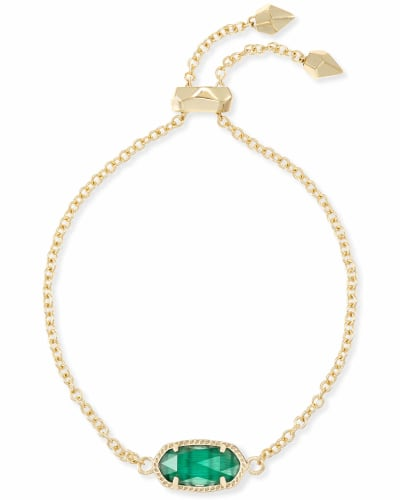 Elaina Gold Adjustable Chain Bracelet in Emerald Cats Eye