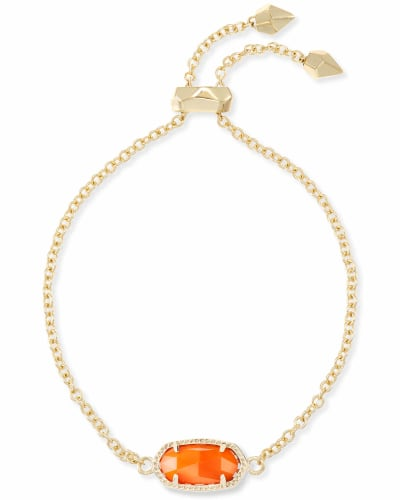 Elaina Gold Adjustable Chain Bracelet in Orange