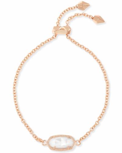 Elaina Rose Gold Adjustable Chain Bracelet in Ivory Pearl