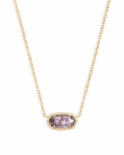 Elisa Gold Short Pendant Necklace In Amethyst