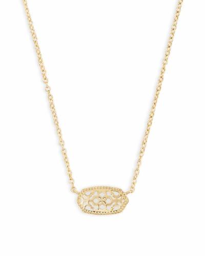 Elisa Gold Pendant Necklace in Gold Filigree