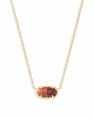 Elisa Gold Pendant Necklace in Goldstone Glass
