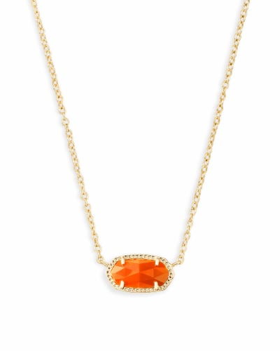 Elisa Gold Pendant Necklace in Orange Opaque Glass