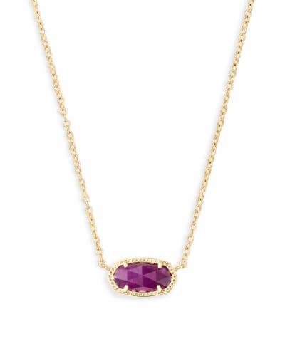 Elisa Gold Pendant Necklace in Purple Jade