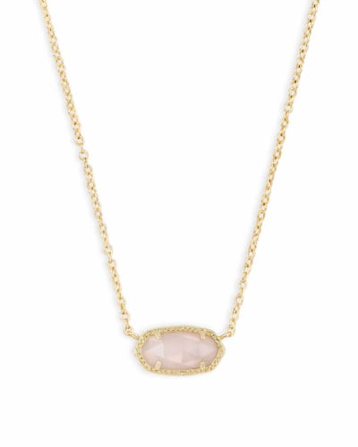 Elisa Pendant Necklace in Rose Quartz