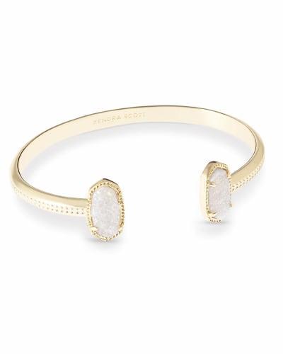 Elton Gold Cuff Bracelet in Iridescent Drusy