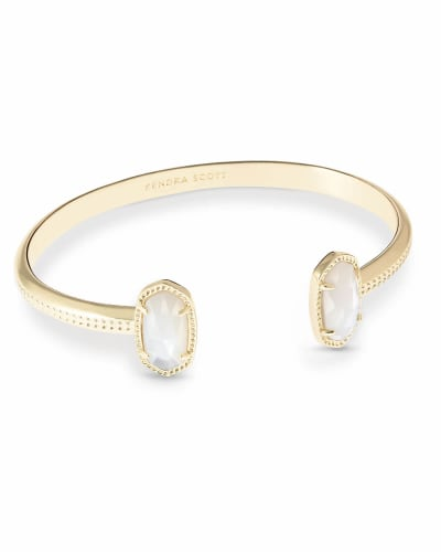 Elton Gold Cuff Bracelet in Ivory Mother-of-Pearl