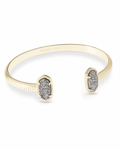 Elton Gold Cuff Bracelet in Platinum Drusy