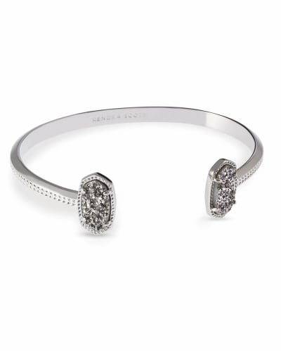 Elton Silver Cuff Bracelet in Platinum Drusy