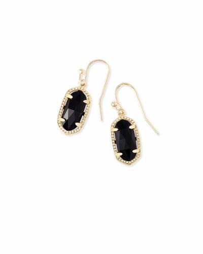 Lee Gold Drop Earrings in Black Opaque Glass