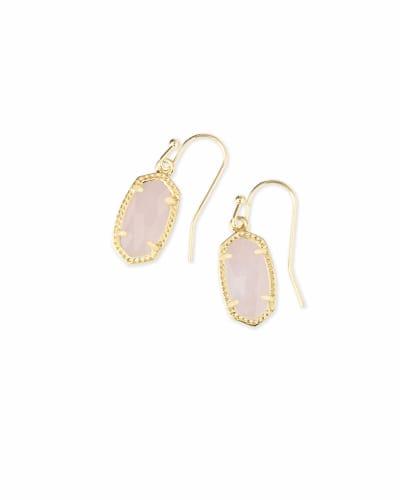 Lee Gold Drop Earrings in Rose Quartz