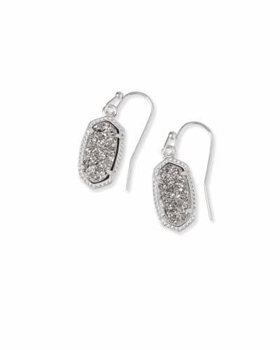 Lee Silver Drop Earrings in Platinum Drusy