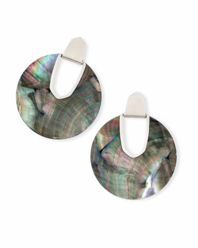 Diane Silver Statement Earrings in Black Mother-of-Pearl