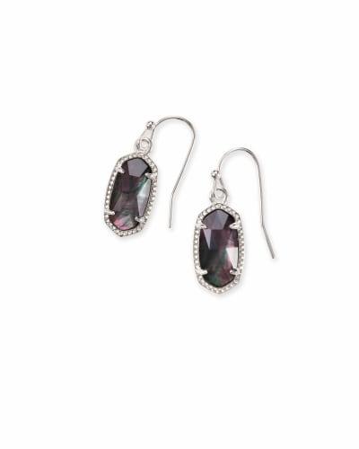 Lee Silver Drop Earrings in Black Mother-of-Pearl
