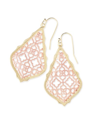 Addie Gold Drop Earrings in Rose Gold Filigree Mix