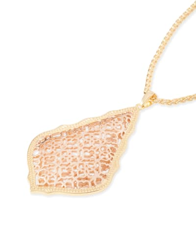 Aiden Gold Long Pendant Necklace in Rose Gold Filigree Mix