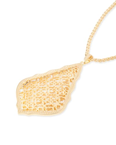 Aiden Gold Long Pendant Necklace in Gold Filigree Mix