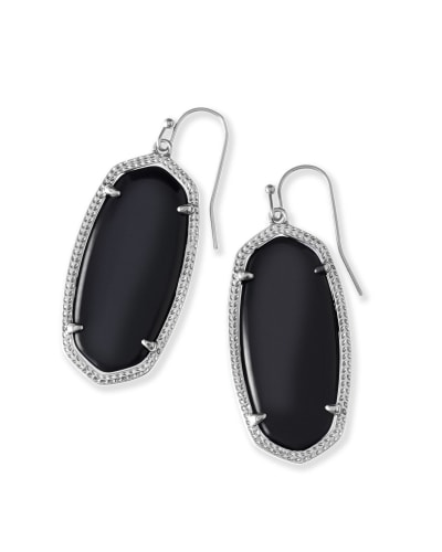 Elle Silver Drop Earrings in Black Opaque Glass