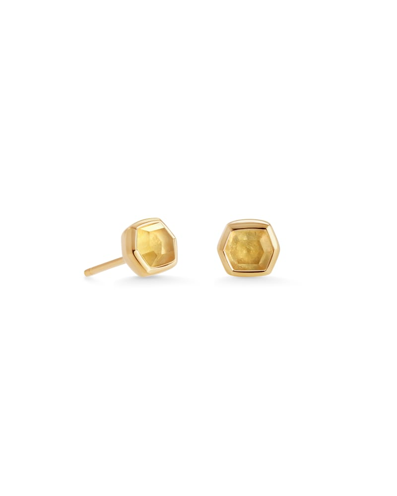 Davie 18K Gold Vermeil Stud Earrings in Light Citrine