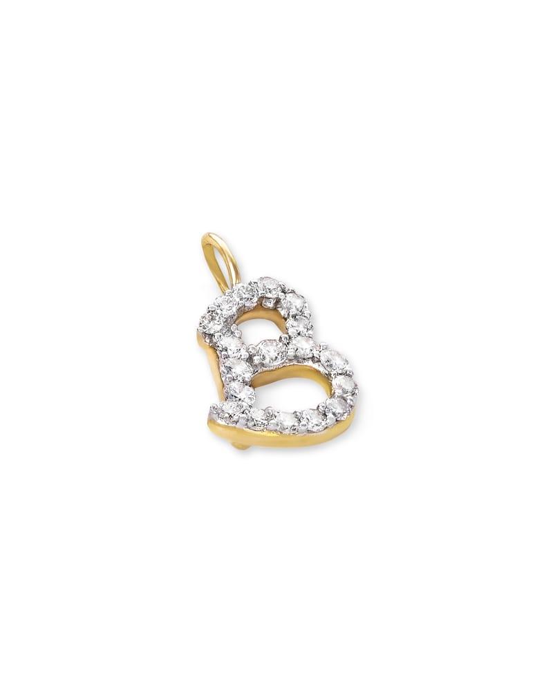 14k Yellow Gold Letter B Charm in White Diamond