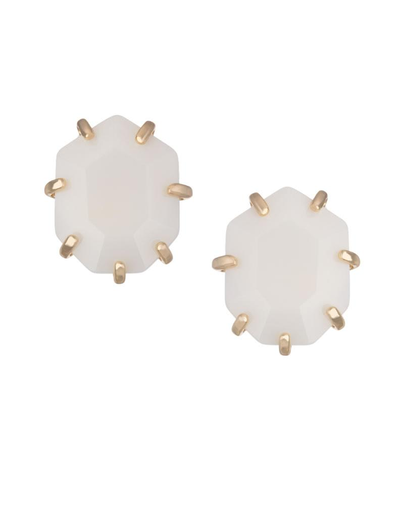 Morgan Stud Earrings in White Pearl