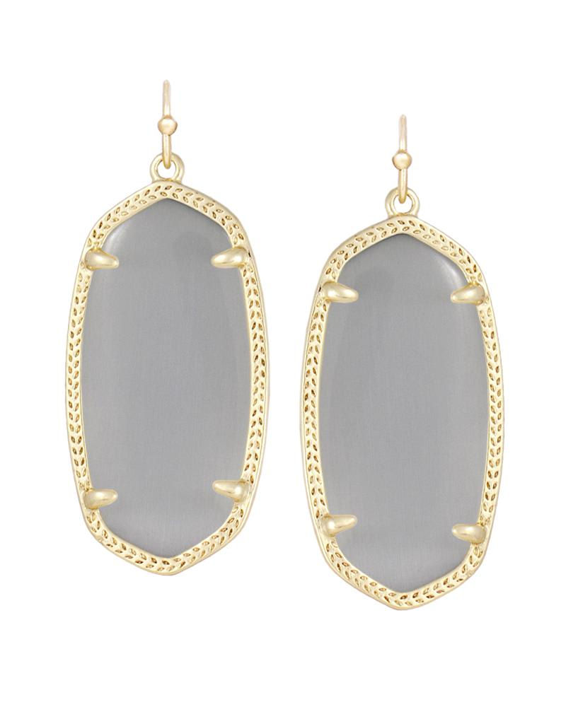 Elle Gold Drop Earrings in Slate Cats Eye