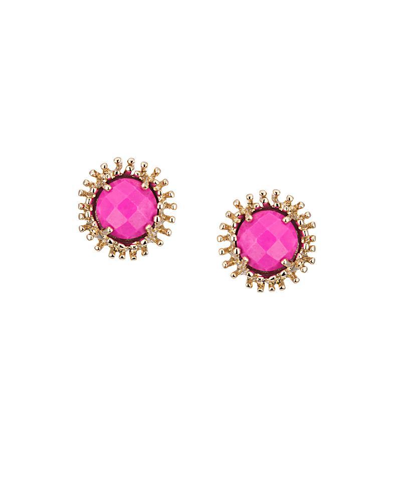 Carly Stud Earrings in Magenta