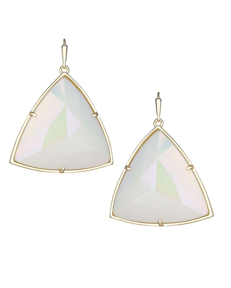 Nikki Drop Earrings in White Iridescent