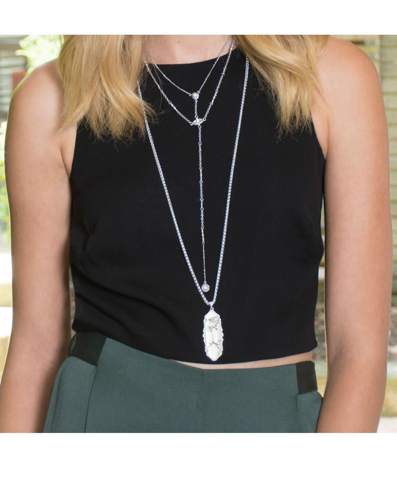 Frances Necklace in Pink Agate