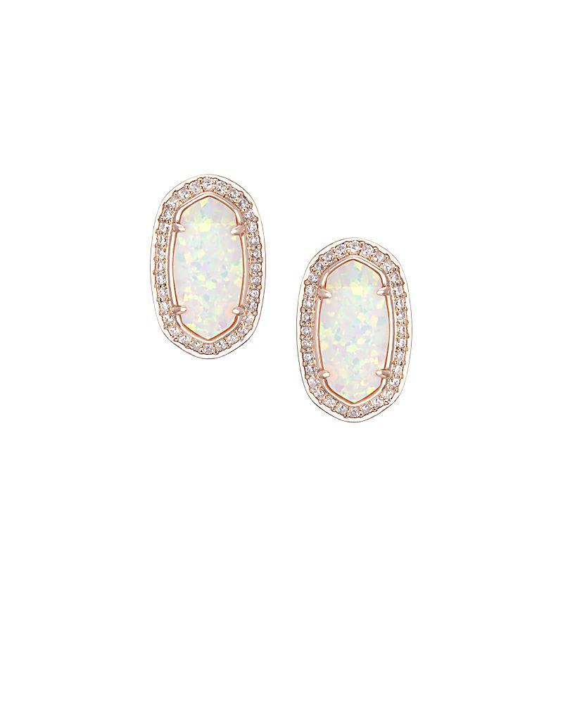 Elaine Stud Earrings in White Kyocera Opal