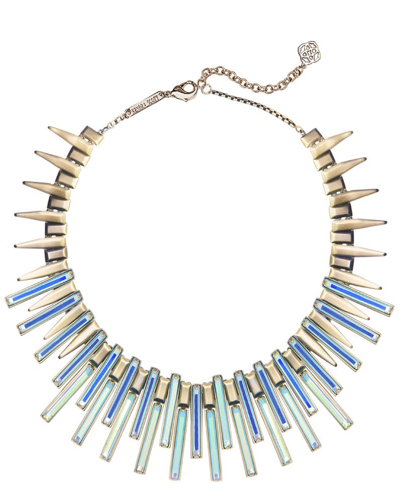 Kaplan Antique Brass Statement Necklace in Dichroic Glass