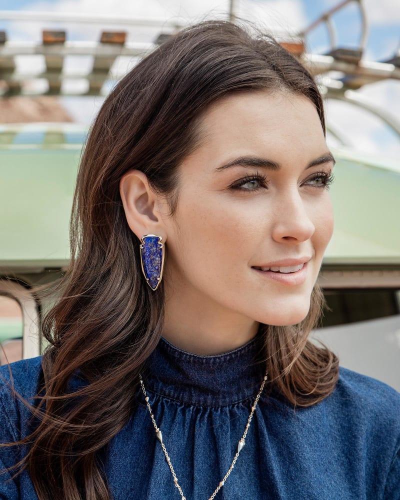 Kathryn Earrings in Raw Cut Lapis