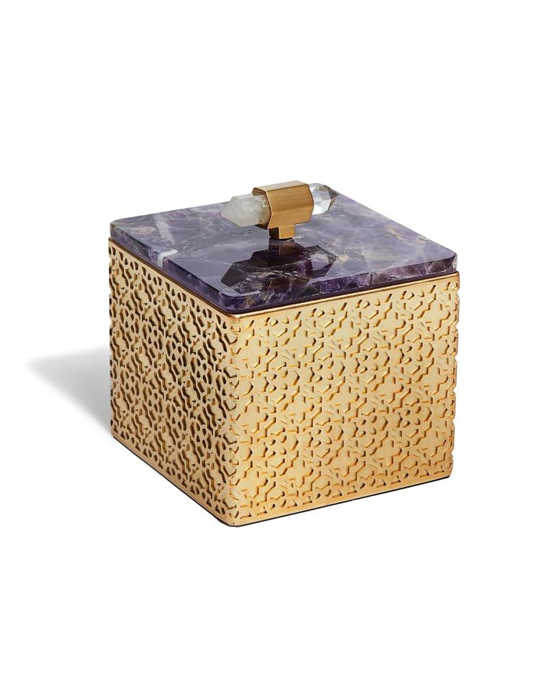 Square Filigree Box in Chevron Amethyst