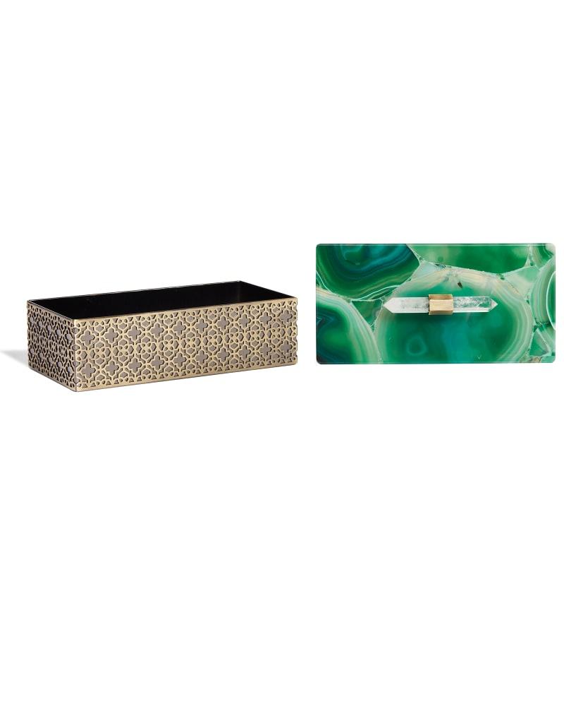 Rectangular Filigree Box in Green Agate