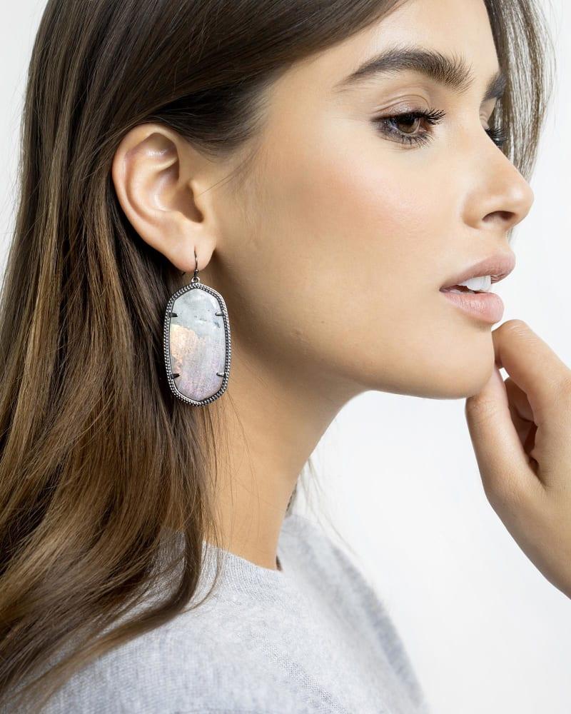 Danielle Statement Earrings in Green Banded Agate