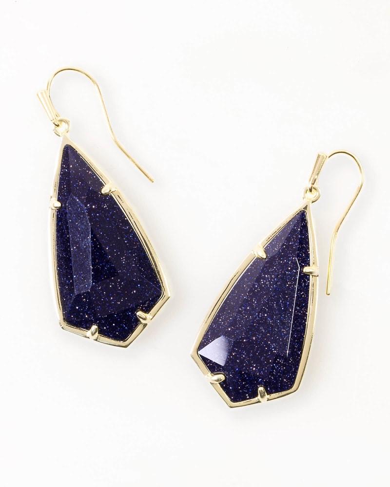Carla Drop Earrings in Blue Goldstone