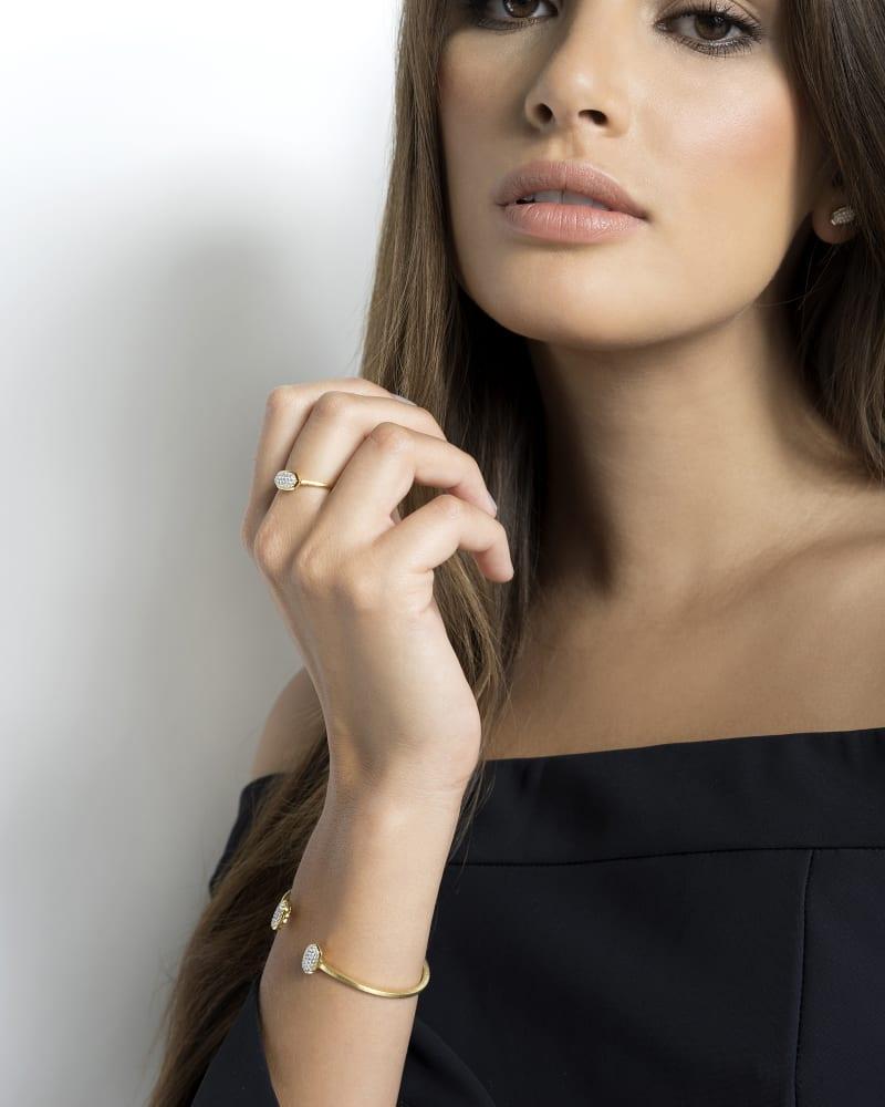 Elias Cuff Bracelet in Pave Diamond and 14k White Gold