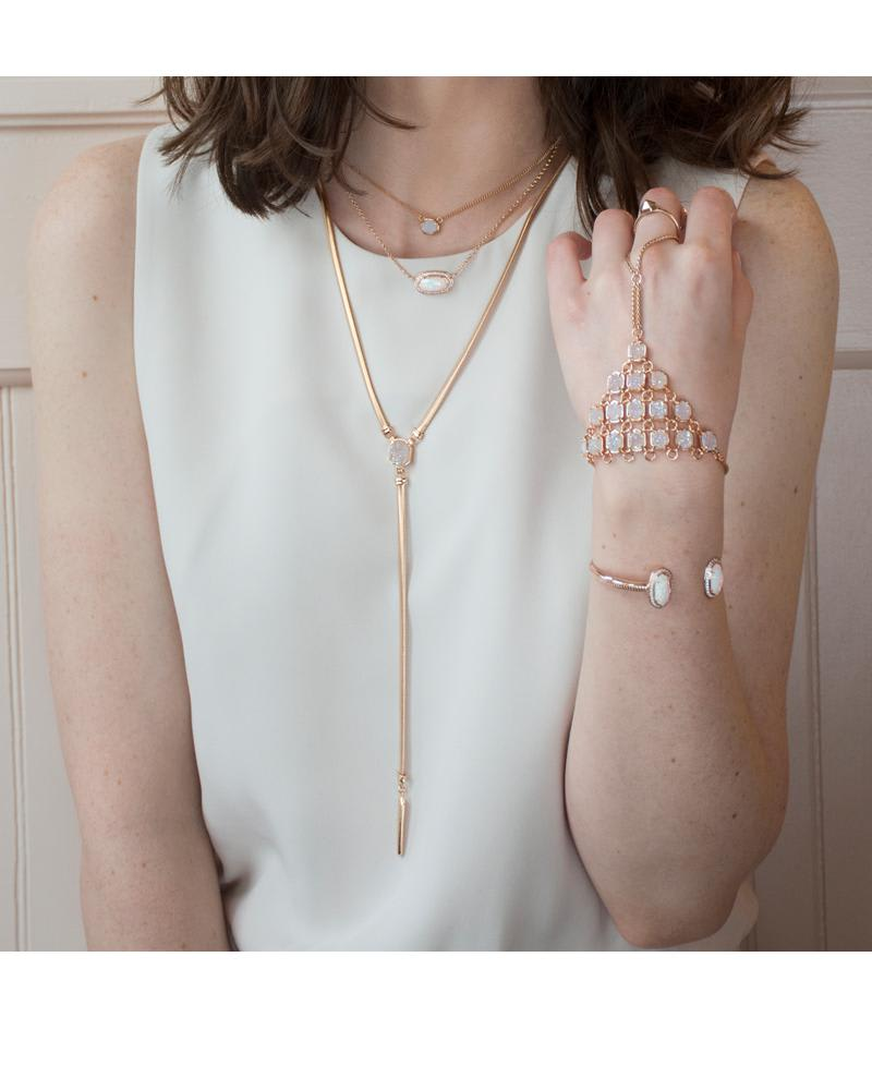 Abigail Rose Gold Hand Bracelet in Iridescent Drusy