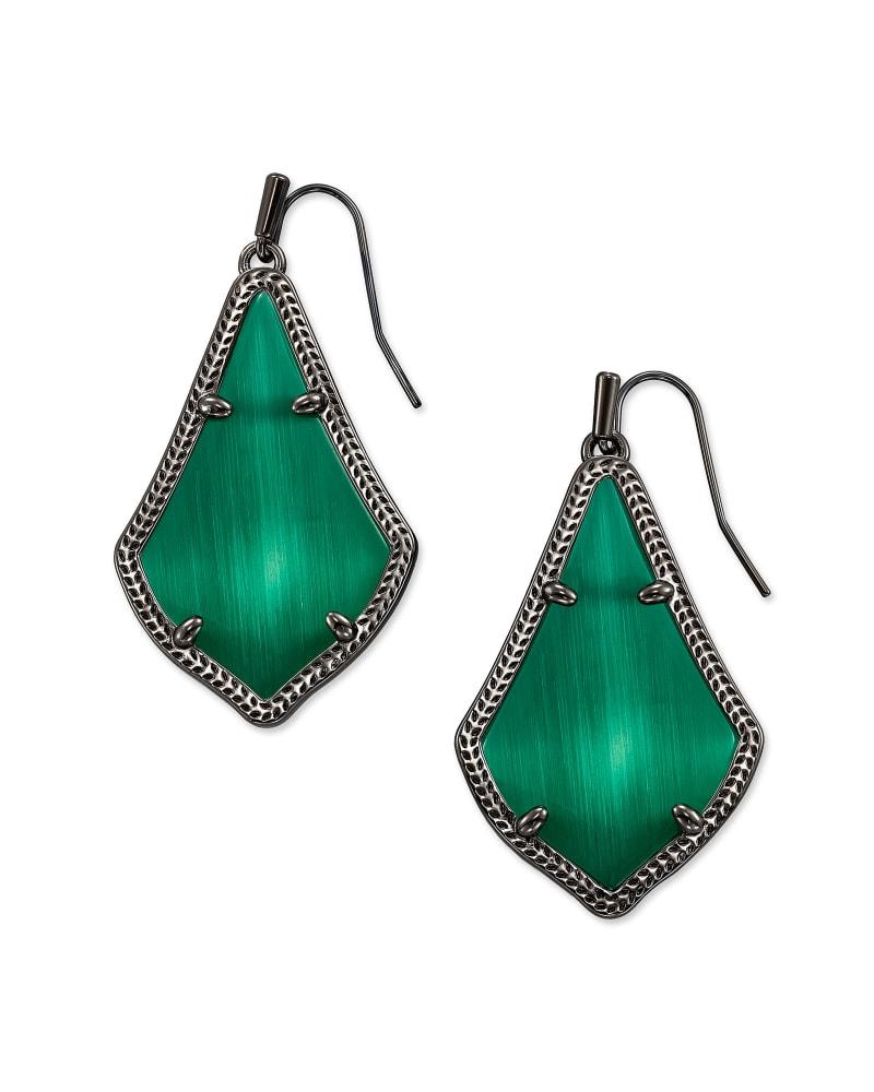 Alex Gunmetal Drop Earrings in Emerald Cat's Eye