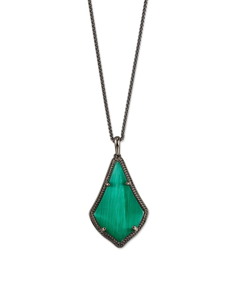 Alex Gunmetal Pendant Necklace in Emerald Cat's Eye